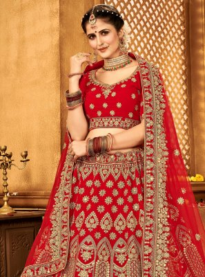 A Line Lehenga Choli Zari Velvet in Red