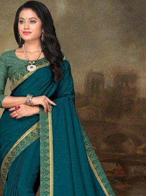 Aari Turquoise Art Silk Saree