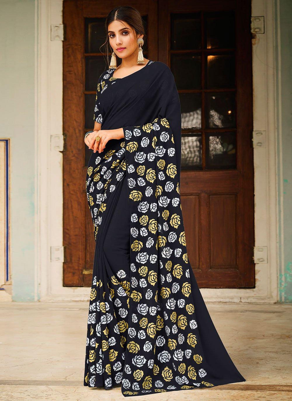 Abstract Print Black Saree