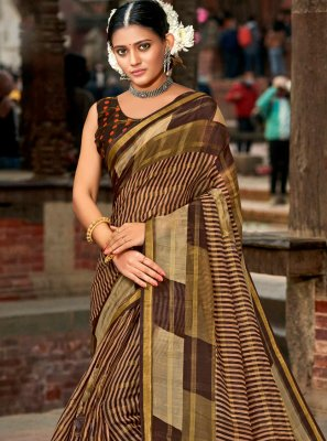 Abstract Print Brown Cotton Printed Saree