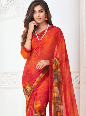 Abstract Print Casual Casual Saree