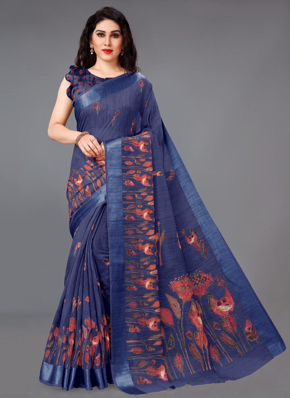 Abstract Print Cotton Blue Printed Saree