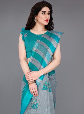Abstract Print Cotton Grey and Turquoise Classic Saree