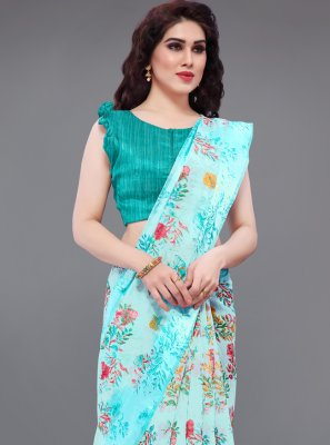 Abstract Print Cotton Multi Colour Printed Saree