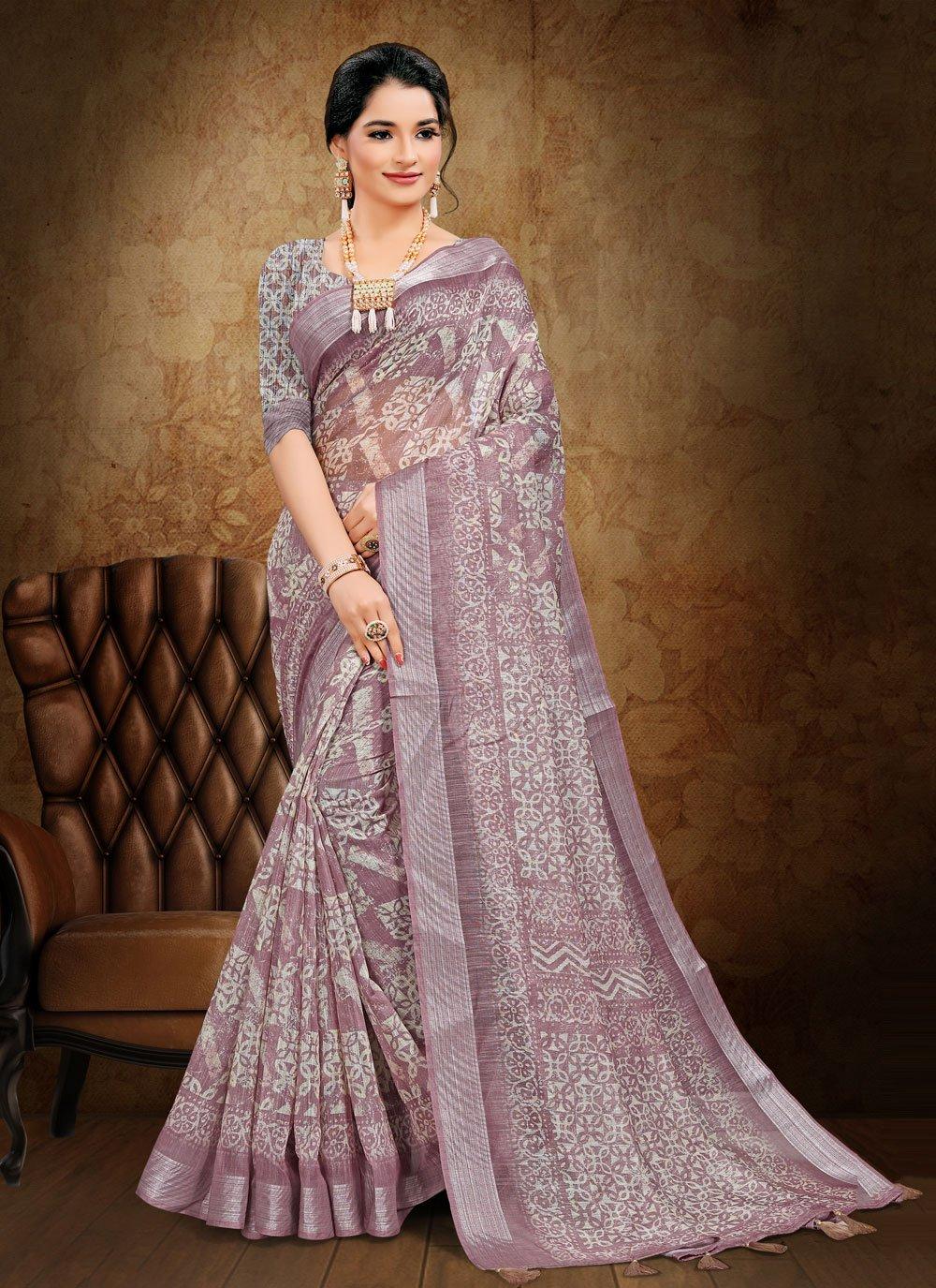 Abstract Print Cotton Printed Saree