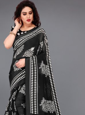 Abstract Print Cotton Printed Saree in Black