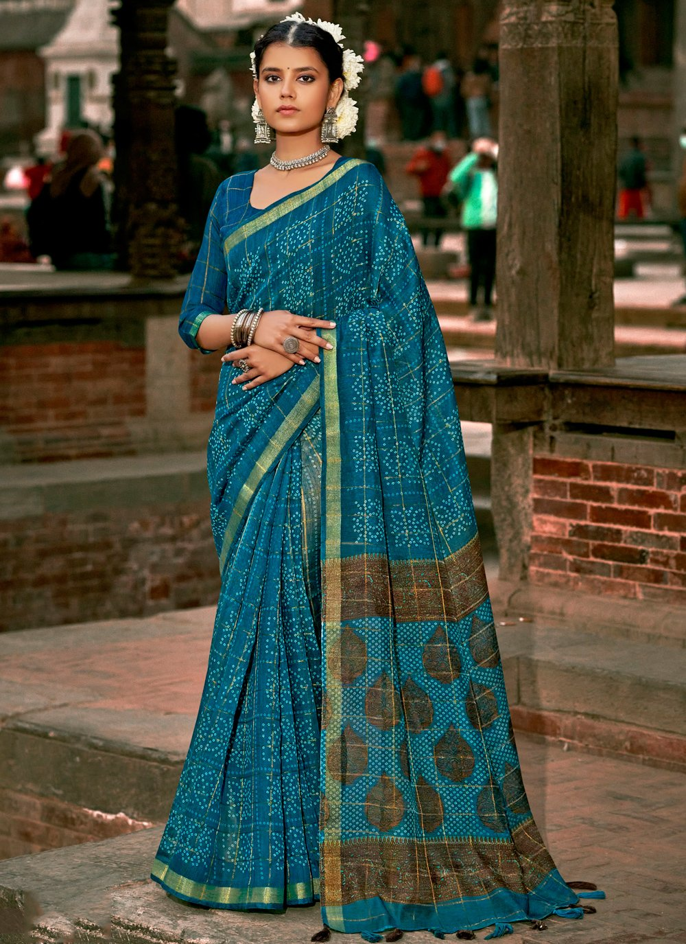 Abstract Print Cotton Printed Saree in Blue