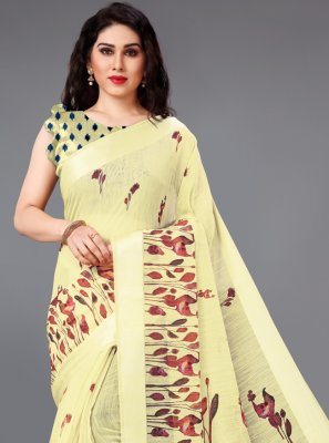 Abstract Print Cotton Printed Saree in Yellow