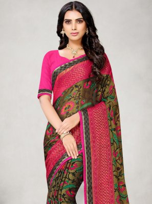 Abstract Print Fancy Fabric Multi Colour Printed Saree