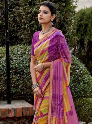 Abstract Print Faux Chiffon Multi Colour Trendy Saree