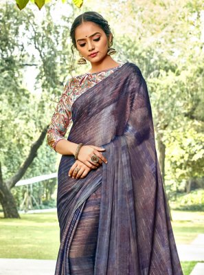 Abstract Print Faux Chiffon Printed Saree