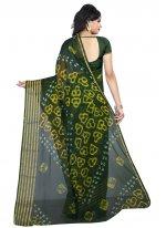 Abstract Print Faux Chiffon Printed Saree in Green
