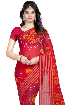 Abstract Print Faux Chiffon Printed Saree in Hot Pink