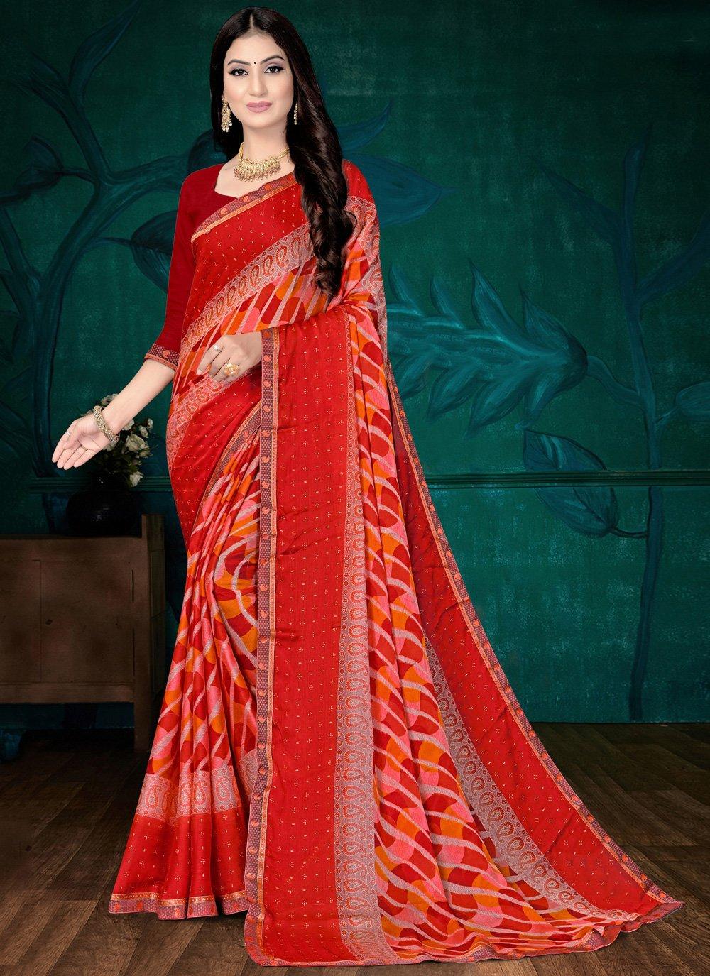 Abstract Print Faux Chiffon Red Printed Saree