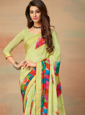 Abstract Print Faux Crepe Saree in Multi Colour