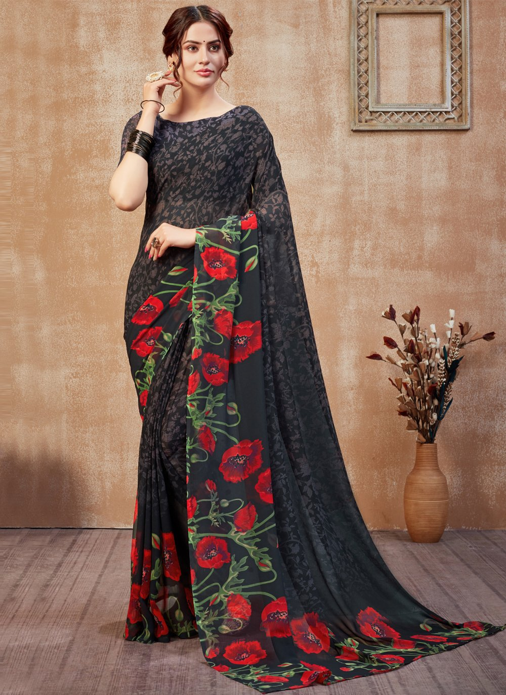 Abstract Print Faux Georgette Black Printed Saree