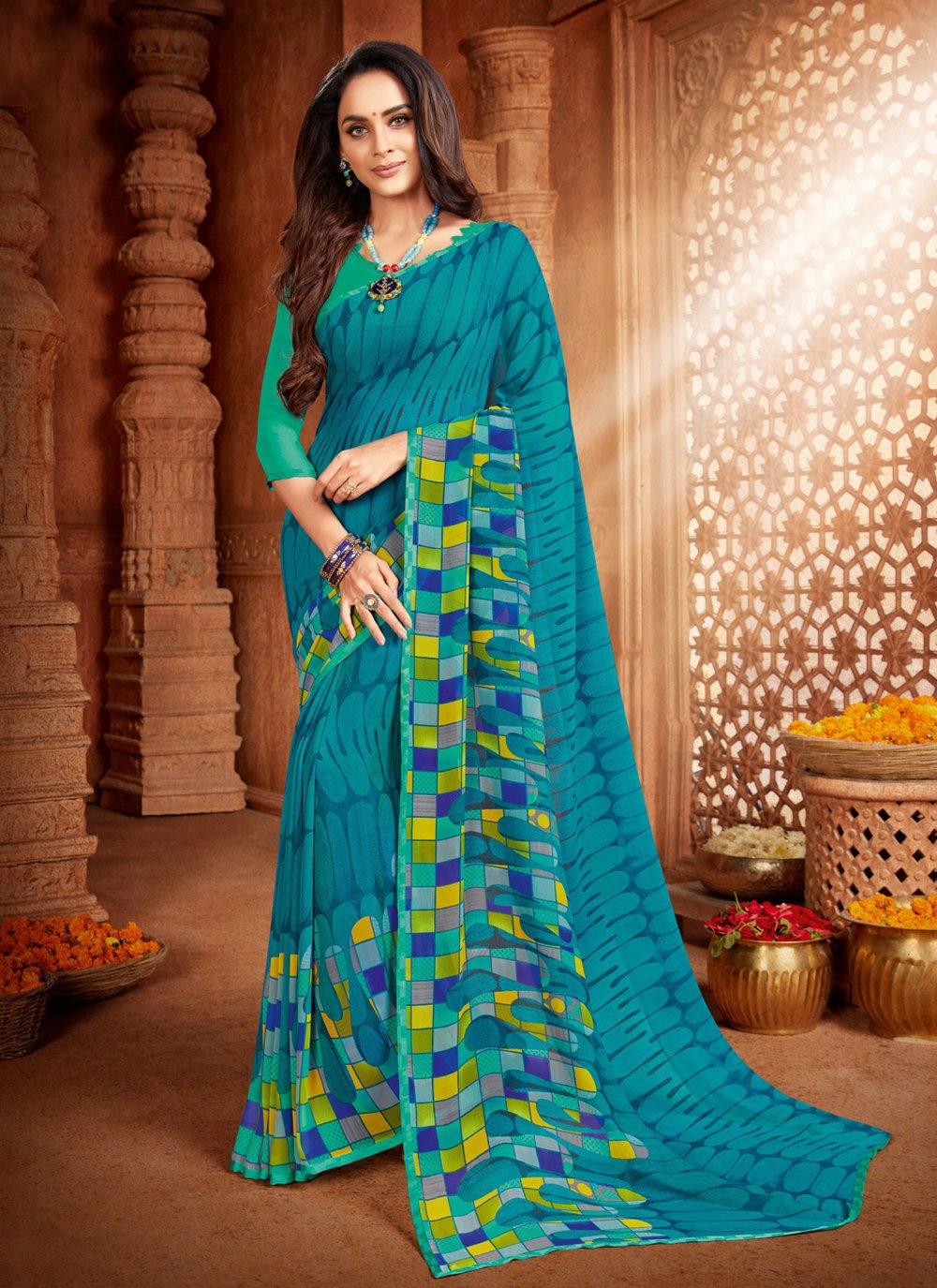 Abstract Print Faux Georgette Blue Printed Saree