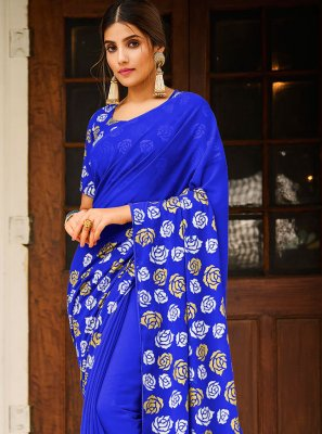 Abstract Print Faux Georgette Blue Saree