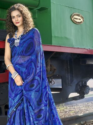 Abstract Print Faux Georgette Casual Saree