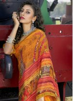 Abstract Print Faux Georgette Casual Saree in Multi Colour