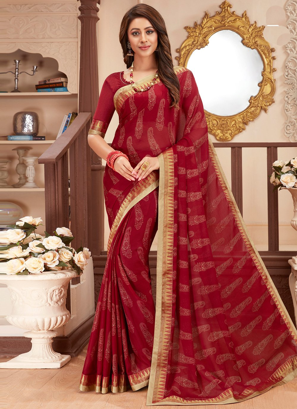 Abstract Print Faux Georgette Maroon Printed Saree