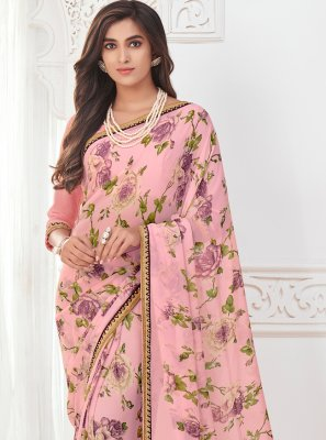 Abstract Print Faux Georgette Multi Colour Casual Saree