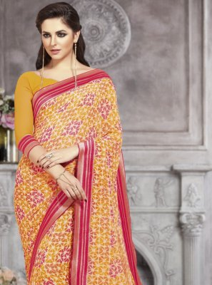 Abstract Print Faux Georgette Multi Colour Printed Saree