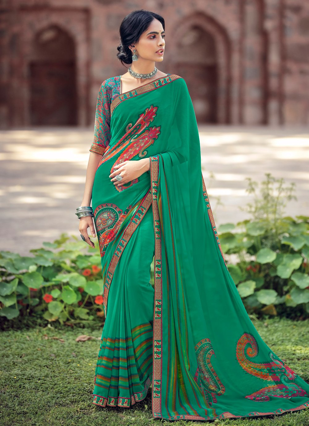 Abstract Print Faux Georgette Printed Saree in Green