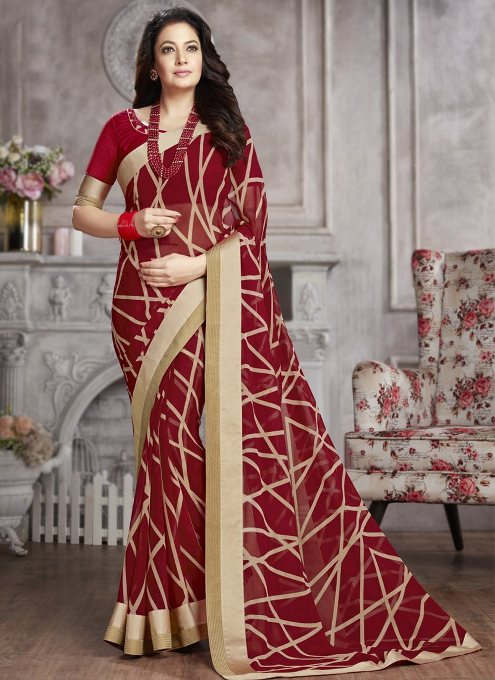 Abstract Print Faux Georgette Printed Saree in Maroon