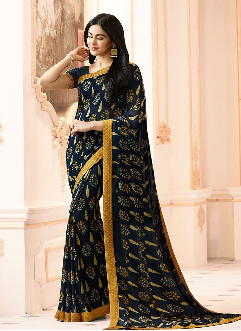 Abstract Print Faux Georgette Printed Saree in Navy Blue