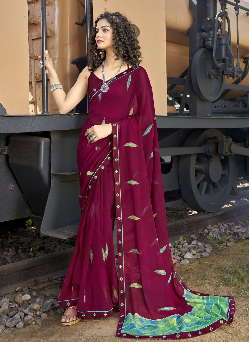Abstract Print Faux Georgette Wine Casual Saree