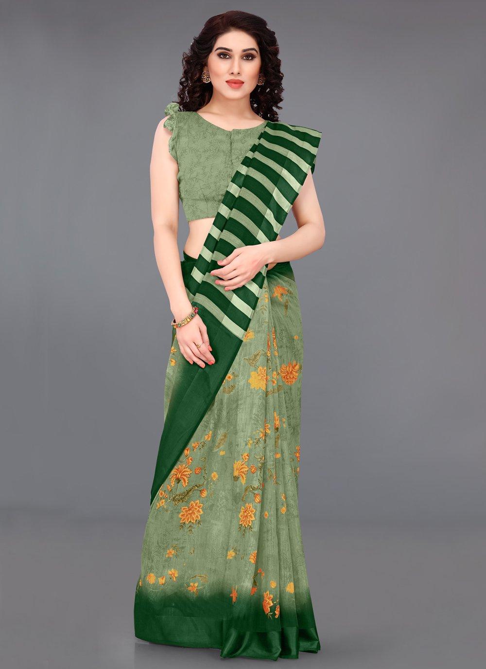 Abstract Print Green Cotton Printed Saree