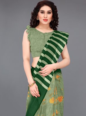 Abstract Print Green Cotton Printed Saree