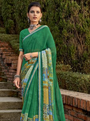 Abstract Print Green Faux Chiffon Classic Saree