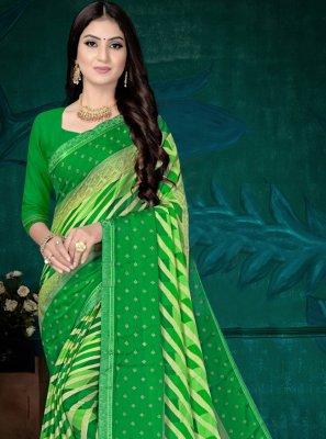 Abstract Print Green Printed Saree