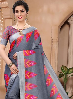 Abstract Print Grey Cotton Printed Saree