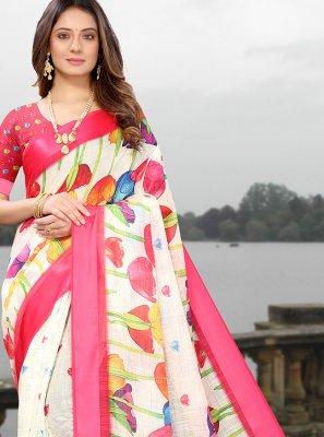 Abstract Print Linen Multi Colour Casual Saree