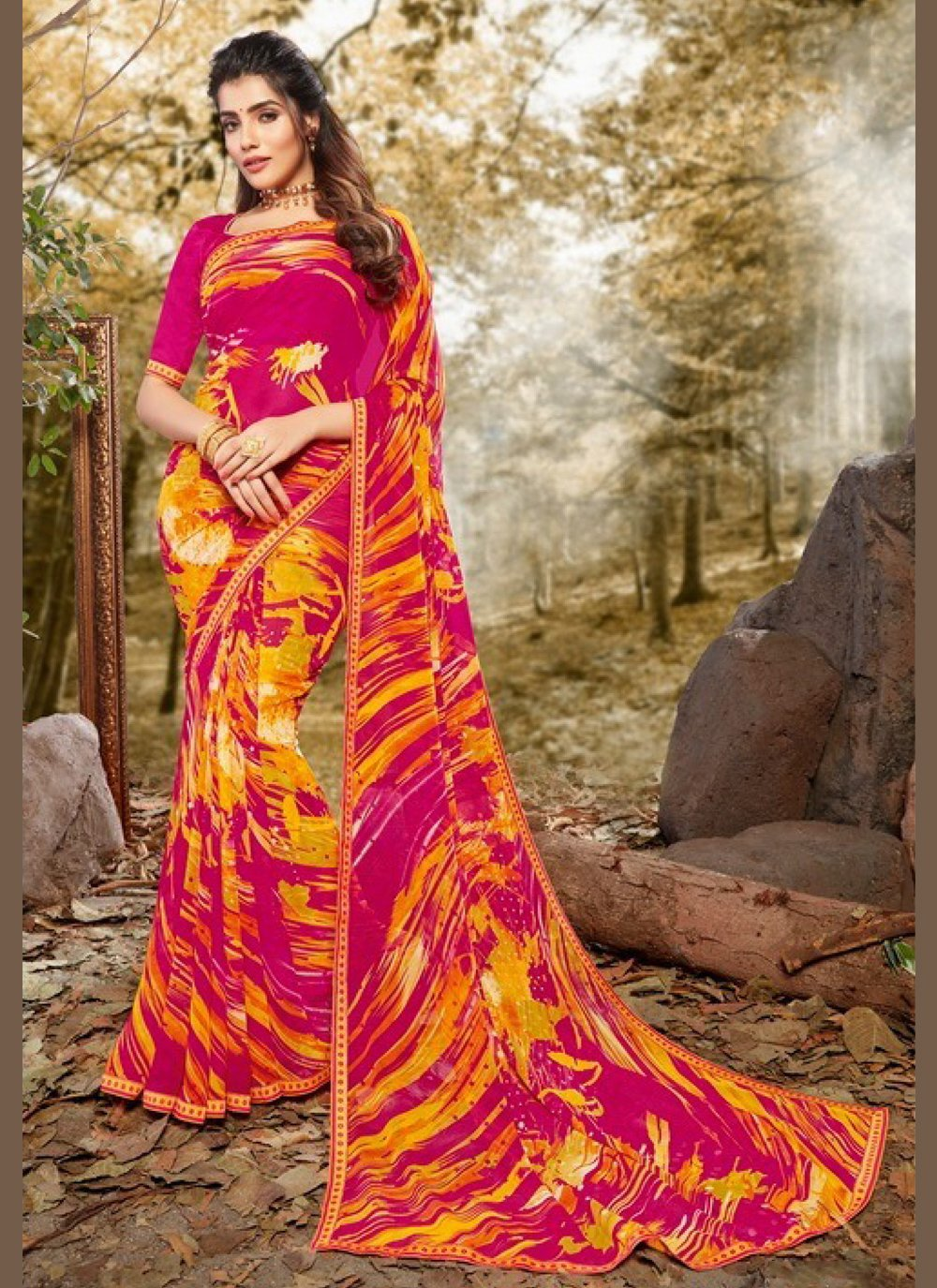 Abstract Print Multi Colour Casual Saree