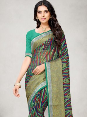 Abstract Print Multi Colour Fancy Fabric Printed Saree