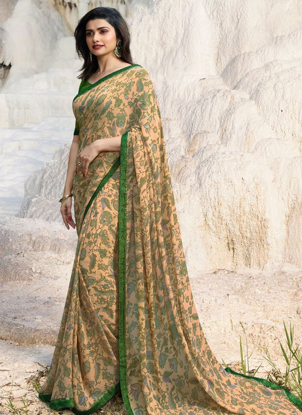 Abstract Print Multi Colour Prachi Desai Printed Saree
