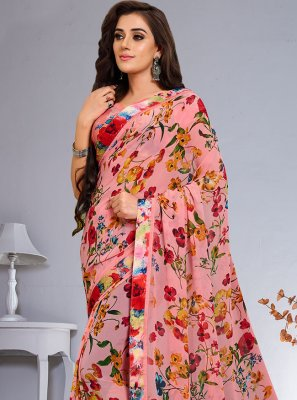 Abstract Print Multi Colour Weight Less Saree