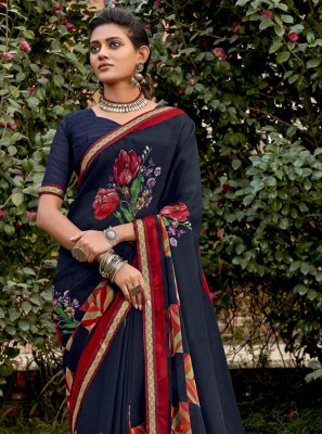 Abstract Print Navy Blue Faux Chiffon Traditional Saree