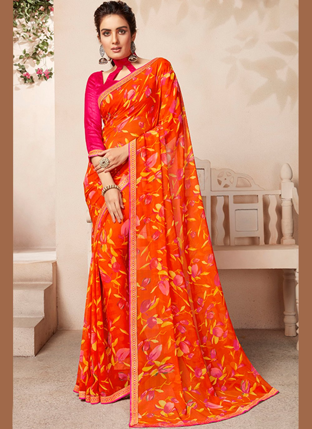 Abstract Print Orange and Yellow Faux Georgette Casual Saree