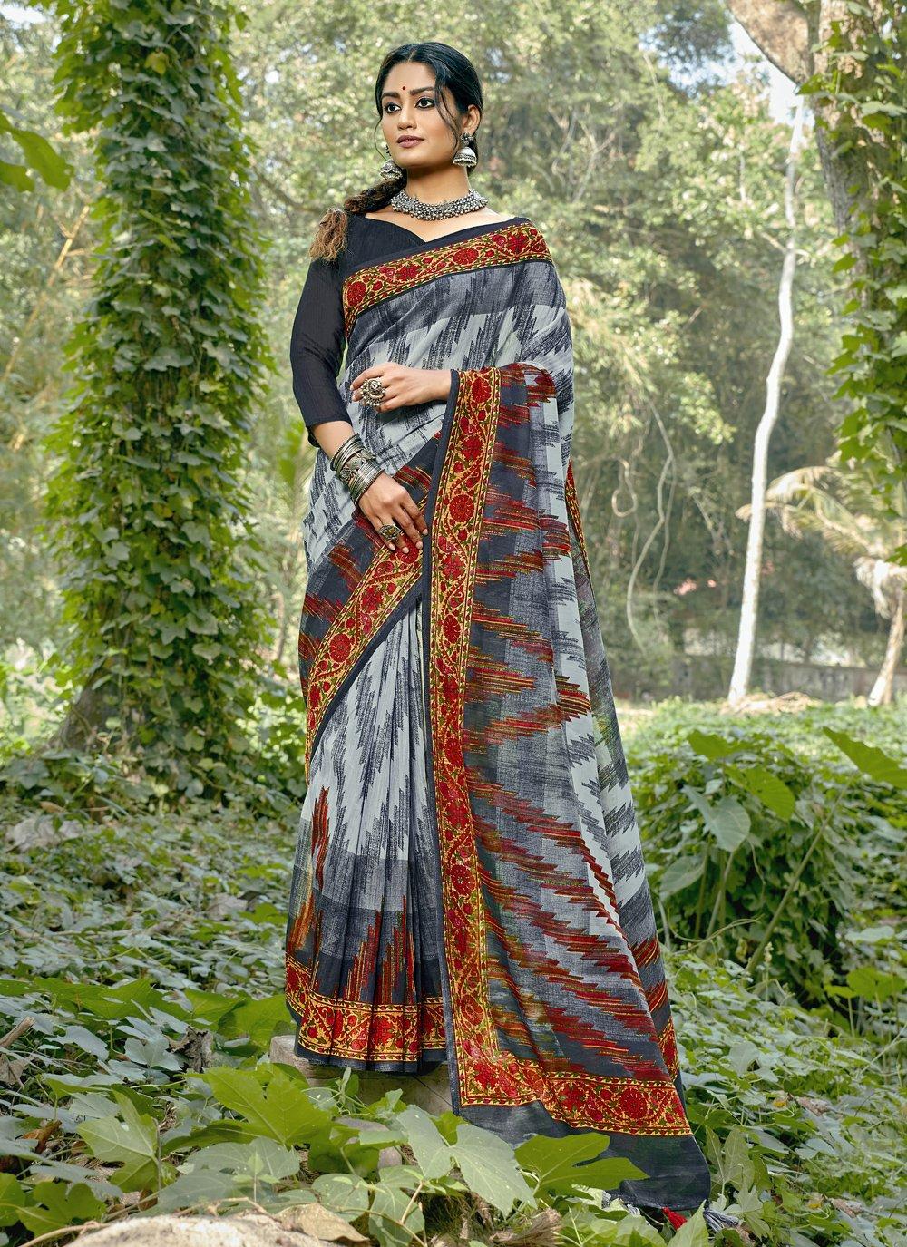 Abstract Print Printed Saree