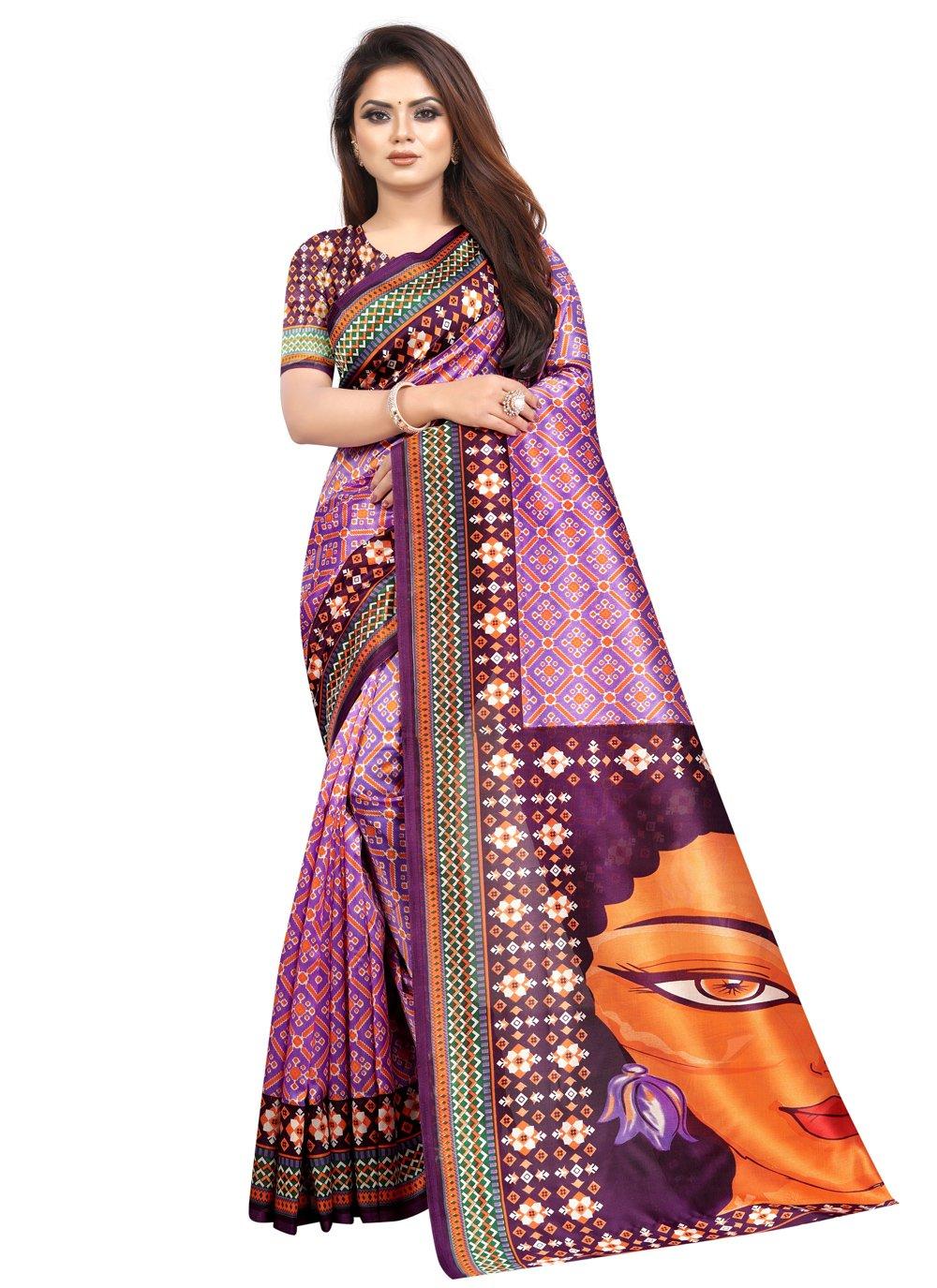 Abstract Print Purple Raw Silk Printed Saree