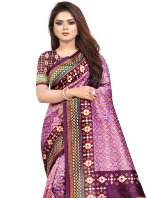 Abstract Print Purple Raw Silk Printed Saree