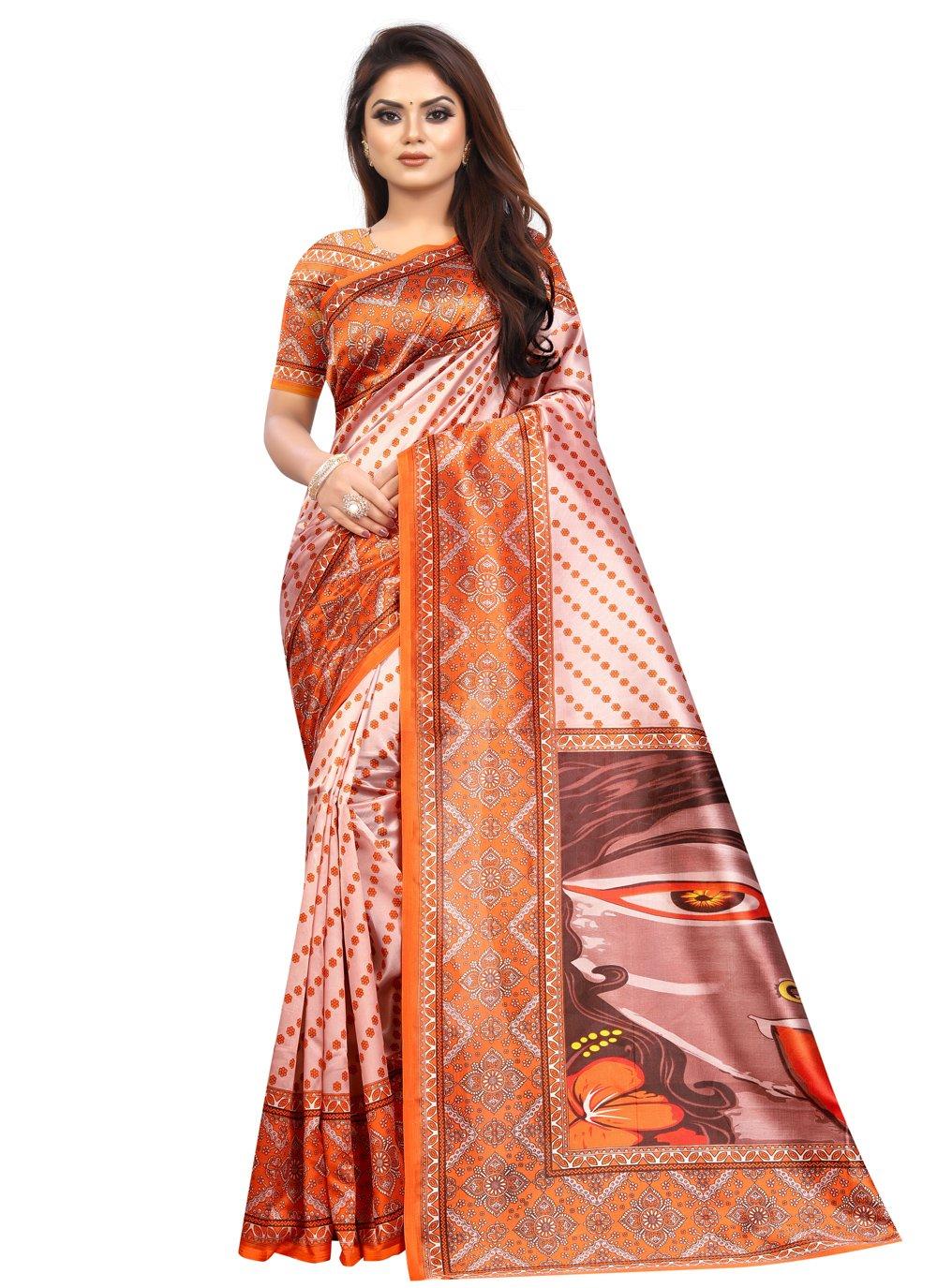 Abstract Print Raw Silk Printed Saree