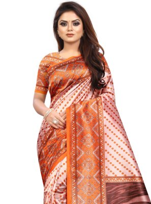 Abstract Print Raw Silk Printed Saree