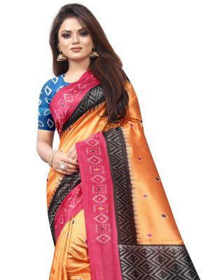 Abstract Print Raw Silk Traditional Saree in Orange