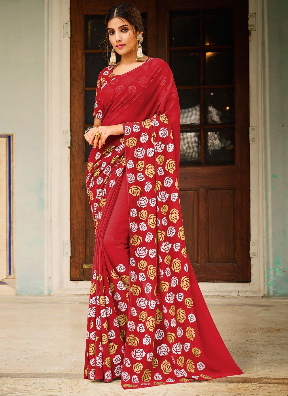 Abstract Print Red Saree